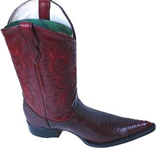 Dona Michi Cowboy Genuine Leather Ostrich Leg Print Cowboy Handmade Luxury Boots