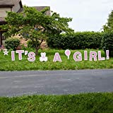 Vispronet IT'S A Girl Pink Yards Sign with Stakes – Each Letter is 18in Tall – Includes Bonus Star, Teddy Bear, and Balloon Signs – Weather-Resistant Signs and Steel Stakes