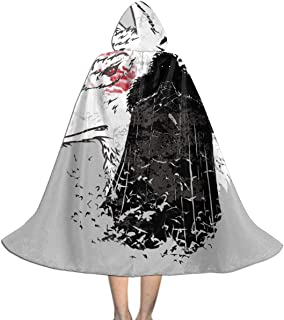 Once Crow Jon Snow and Ghost Game of Thrones Unisex Kids Hooded Cloak Cape Halloween Xmas Party Decoration Role Cosplay Costumes