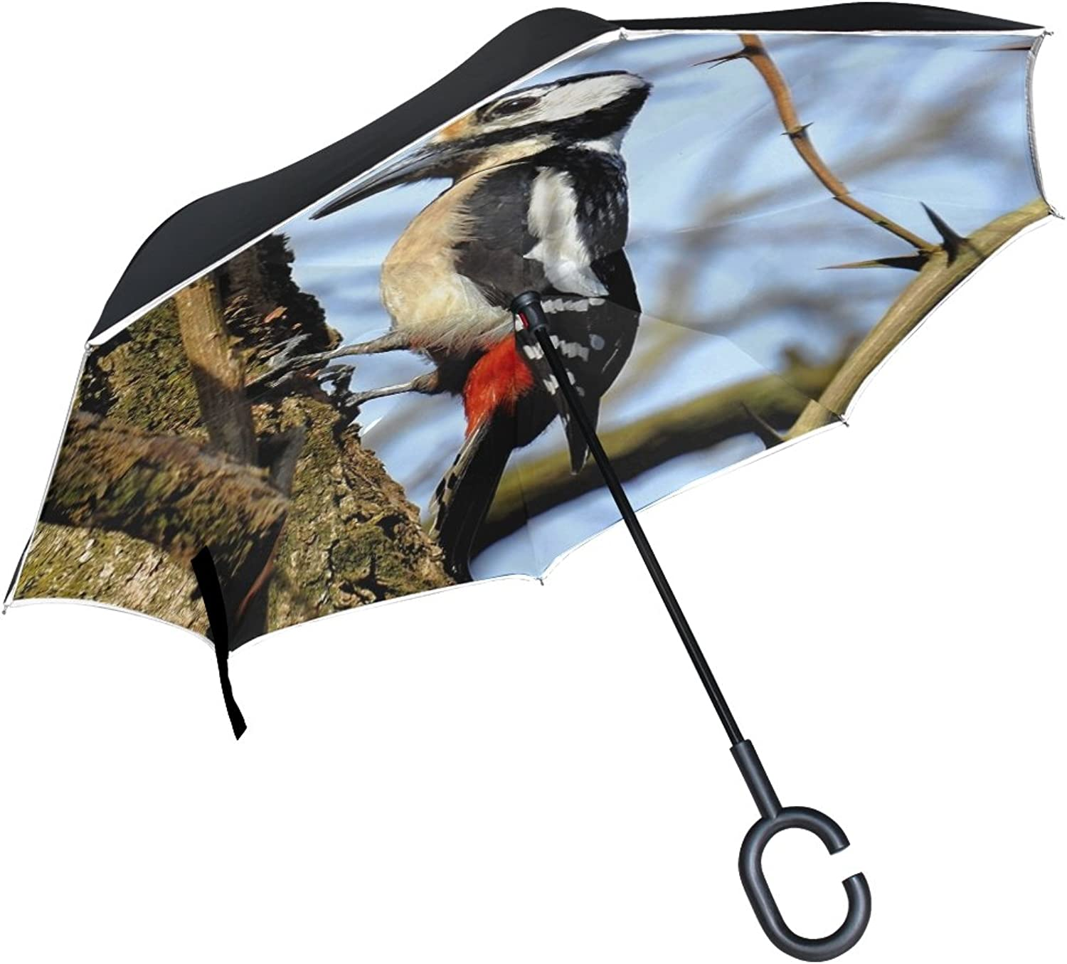 Double Layer Ingreened Birds Nature Animals Woodpecker Umbrellas Reverse Folding Umbrella Windproof Uv Predection Big Straight Umbrella for Car Rain Outdoor with CShaped Handle