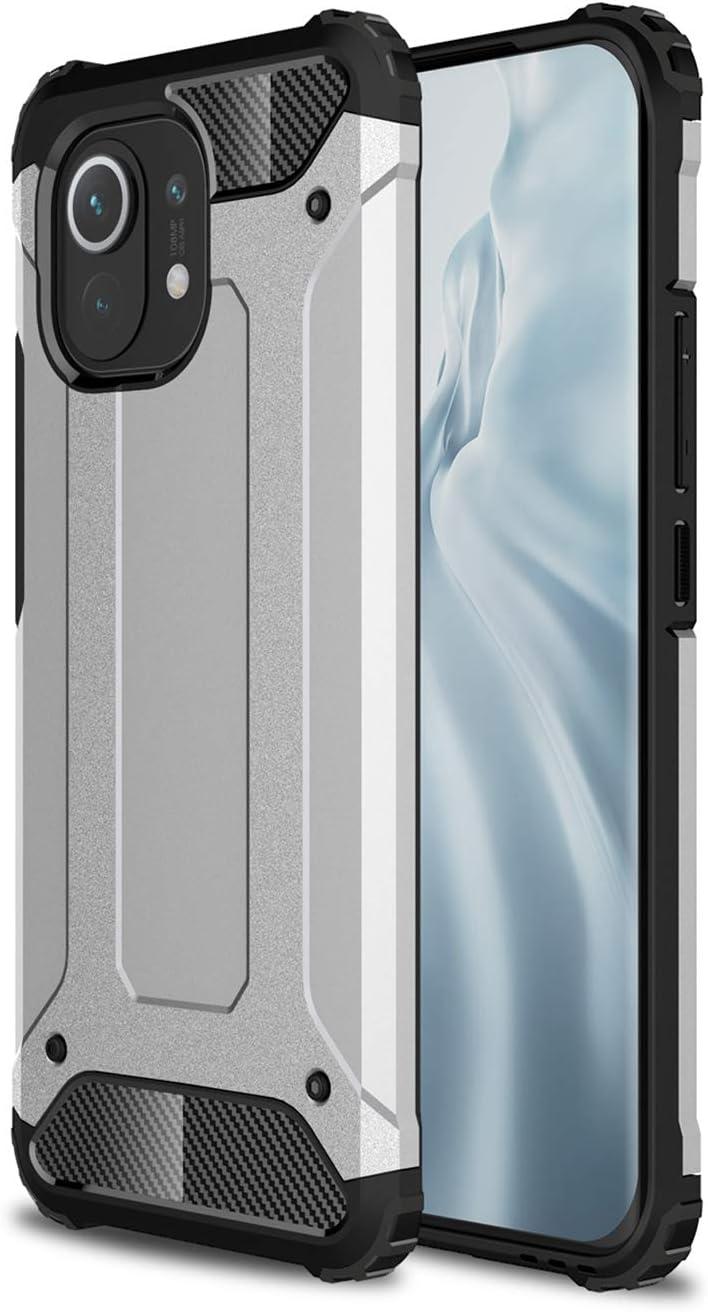 TOPOFU Funda para Xiaomi Mi 11 Lite 4G/5G,Funda Movil Carcasa con Silicona Bumper Antigolpes,Resistencia a Caídas de Grado Militar,TPU/PC Outdoor Cover Case,Blanco