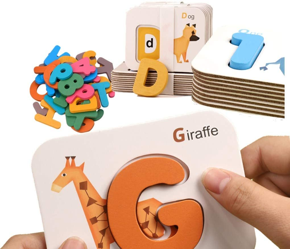 Flash Cards Alphabets Letter Teaching Learning Numbers 73pcs Home Schooling Kit with ABC Wooden Letters Matching Game Early Literacy Preschool Educational Activities for Kids 3-6 Years Old