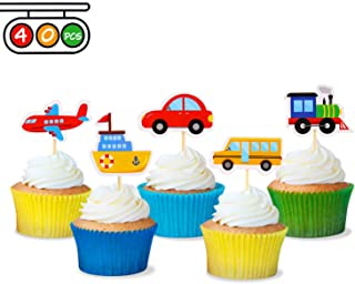 Transportation Cupcake Toppers Car Bus Train Plane Ship DIY Cupcake Toppers for Baby Shower Birthday Party Decorations (40)
