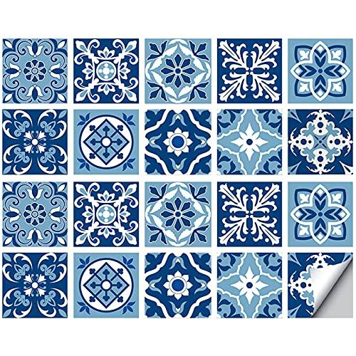 Adhesivo de tela para cuarto de baño y cocina, 20 piezas autoadhesivas de Mosaico, azulejos de pared azules, cuadrados, impermeables, azulejos de bricolaje para decoración del hogar (10 x 10 cm)