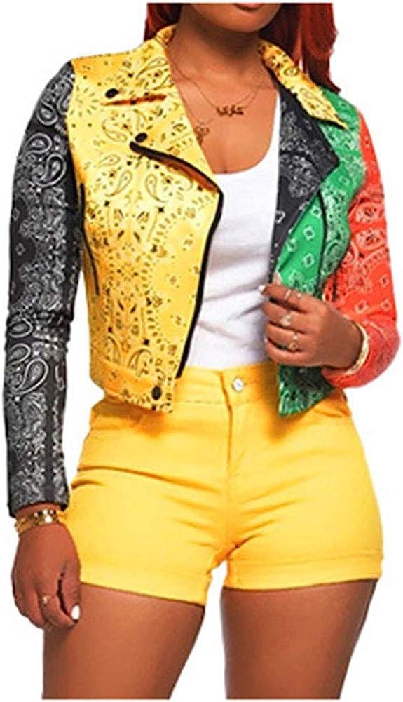 Kedera Women's Color Block Moto Bomber Short PU Faux Leather Patchwork Jacket Coat Outwear