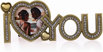 ad7b26ca3fb6 QTMY I Love You Metal Picture Frame for Birthday Father s Mother s  Valentine s Day Gift (I