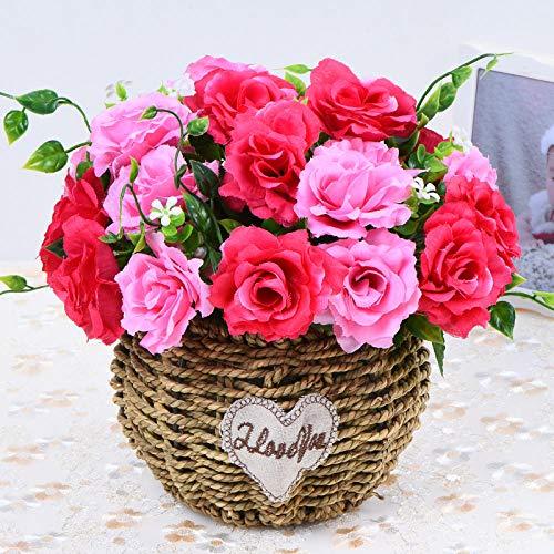xgruisi Kunstbloem Groot Met Vaas In De Pot Rayon Keramische Pot Touch Bloem Een Mooi Ornament - Roos Rood