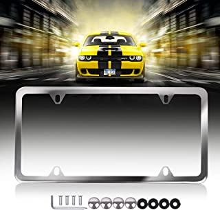 Licenses Plate Covers License Plates Frames Car Aluminum with Screw Caps 1 Pcs 4 Holes Silver Powder Coated Plate Cover Frame