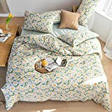 MICBRIDAL Garden Floral Duvet Cover Queen Super Soft 100% Cotton Reversible Print Bedding Set with 2 Pillowcases Chic Floral Bedding Set for Girls Women Fresh Garden Flower Bedding Set with Zipper