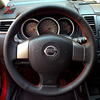 Hand Sewing Black Genuine Leather Steering Wheel Cover for 2007 2008 2009 2010 2011 2012 Nissan Versa (Black Leather Red Thread)