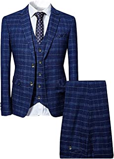 Mens 3 Piece Slim fit Checked Suit Blue/Black Single Breasted Vintage Suits