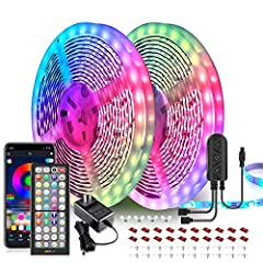 2 rolls of 32.8 ft LED lights, 65.6 ft in length Remote and phone app control Built-in mic that syncs with music beats Easy to install Color changing and dimmable