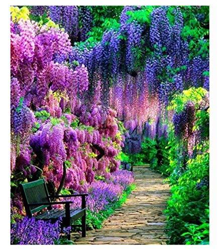 Yqgdss Bancos Y Hermosas Flores En El Camino del Parque, Rompecabezas De 500 Piezas, Ideal para Relajarse, Meditar, Hobby, Cumpleaños para Papá, Madre