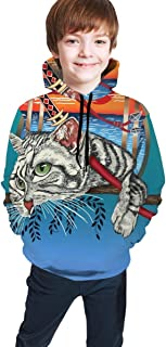 Cyloten Kid's Sweatshirt Ninja Cat Cool Graphic Novelty Hoodies Comfortable Warm Hooded Top Sweatshirt