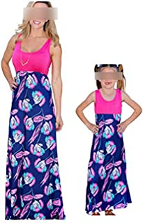 Mommy and Me Dresses Casual Floral Family Outfits Summer Matching Flower Tank Maxi Long Dress Sundress