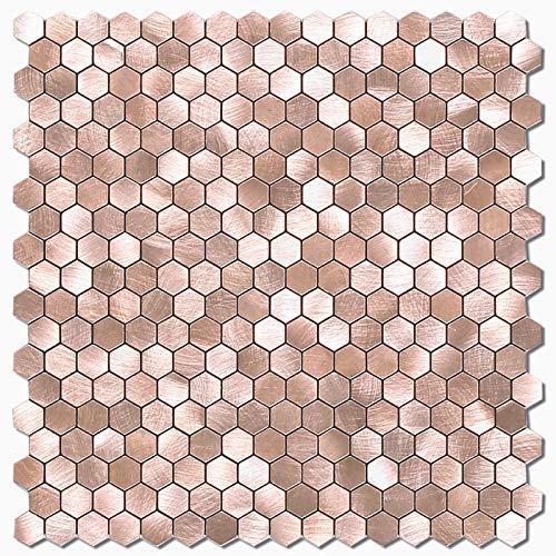 BeNice Selbstklebende Metallmosaik Fliesen Hexagon, Küchenwand Fliesen Aufkleber einfache DIY Kamin (Braun, 5pcs)