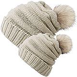 Chalier 2 Pack Parent-Child Hat Winter Baggy Slouchy Beanie Hat Warm Knit Pom Pom Beanie for Women & Baby(Beige)