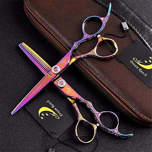 XJPB Tijeras de Corte de Pelo Kit de cizallas Professional Peluquería Tijeras Conjunto de Acero Inoxidable japonés 5.5/6.0 Pulgadas para Hombres Mujeres Home Salon Barber Rose Rojo,6.0Inch