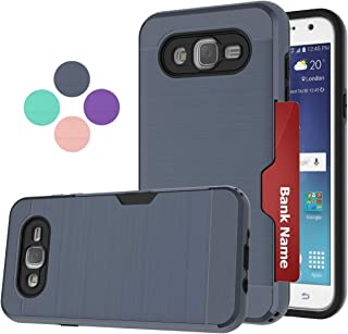 Compatible for Galaxy J7 2015 Case, Galaxy SM-J700 Phone Case,LDStars[Brushed Texture] PC & TPU Shockproof Protective Cover with Card Slots Holder-Navy Blue