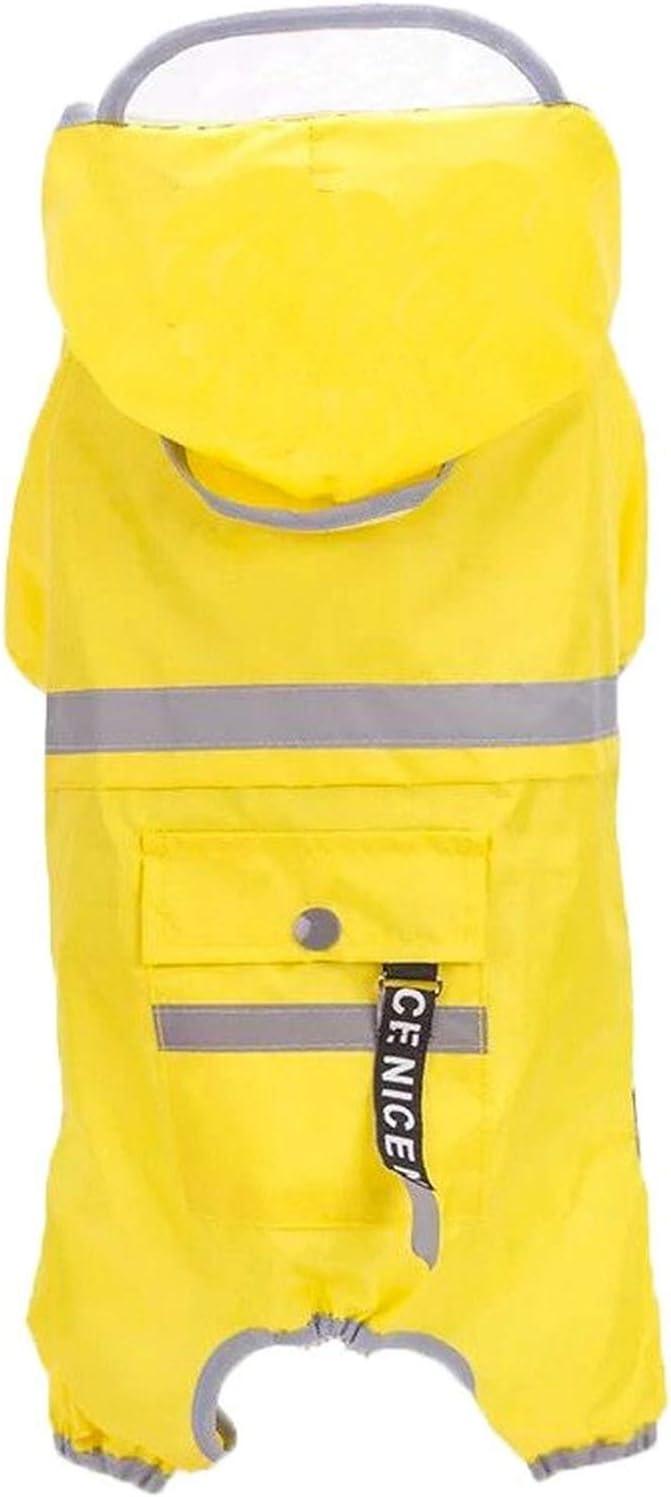giacca antipioggia con protezione ventre per cani di piccola taglia media taglia giallo M Chuajunn Cappotto impermeabile per cani con cappuccio e riflettori 5,5-7 kg