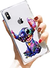 DISNEY COLLECTION iPhone Xs Case iPhone X Case Square Clear Transparent Cute Style Stitch Wallpapers Reinforced Corners TPU Cushion Soft Slim Silicone Shockproof Case Cover 5.8 inch
