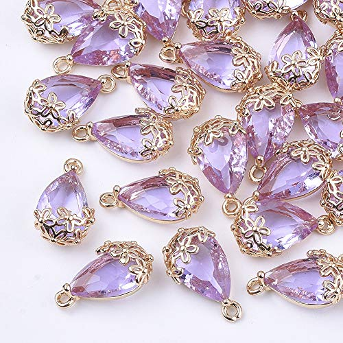 UR URLIFEHALL 5 Pcs MediumPurple Faceted Transparent Glass Beads Teardrop Charms Pendants for Jewelry Making 16x9mm