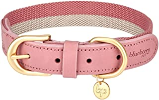 """Blueberry Pet Polyester Fabric Webbing and Soft Genuine Leather Dog Collar in Pink and Grey, Large, Neck 18""""-22"""", Adjustab..."""