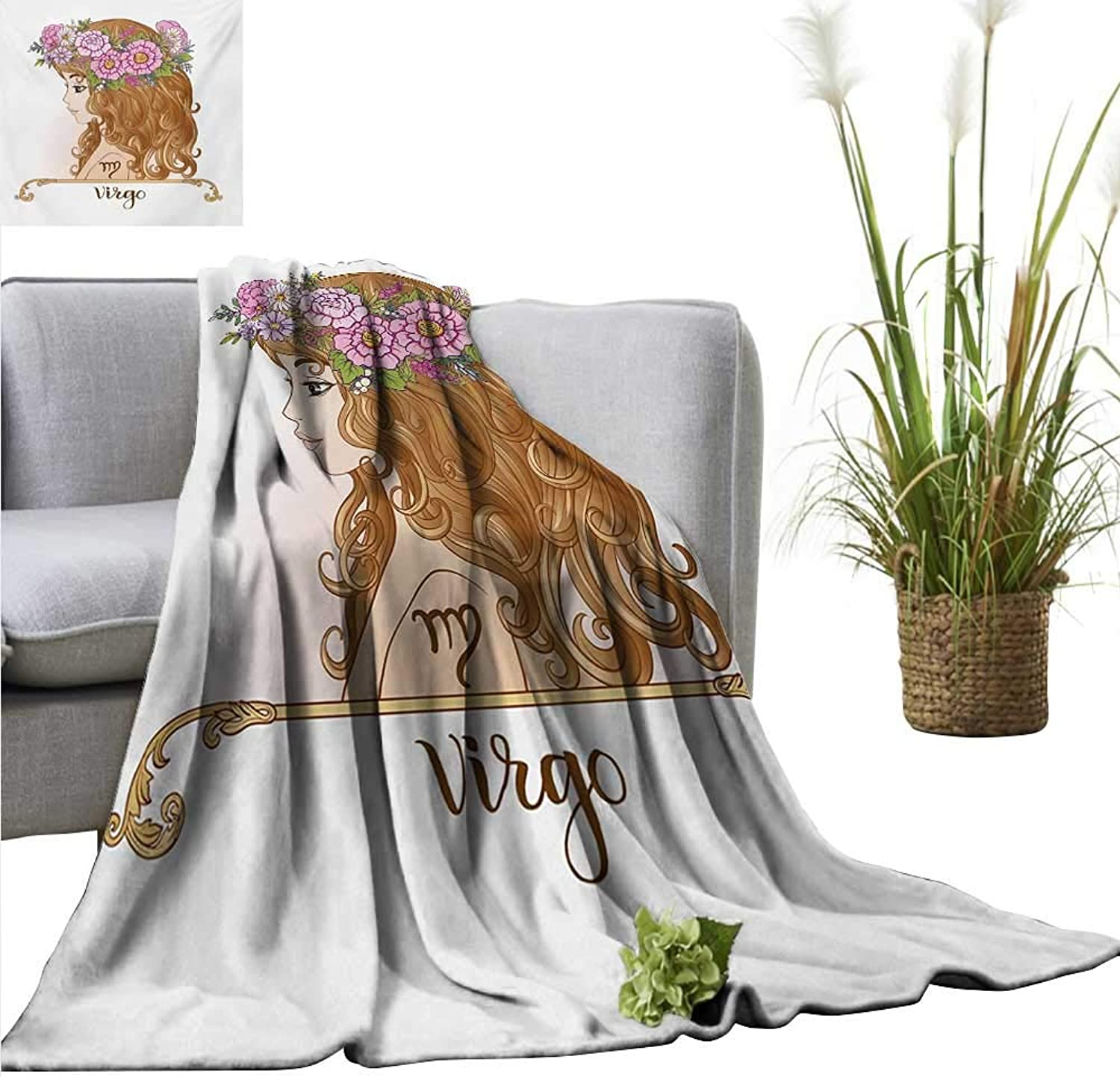 Homehot Virgo Blanket Sheets Girl with Flower Crown Astrology Inspired Image Fortune Telling Illustration Ultra Soft and Warm Hypoallergenic 54  Wx72 L Pink Caramel Green