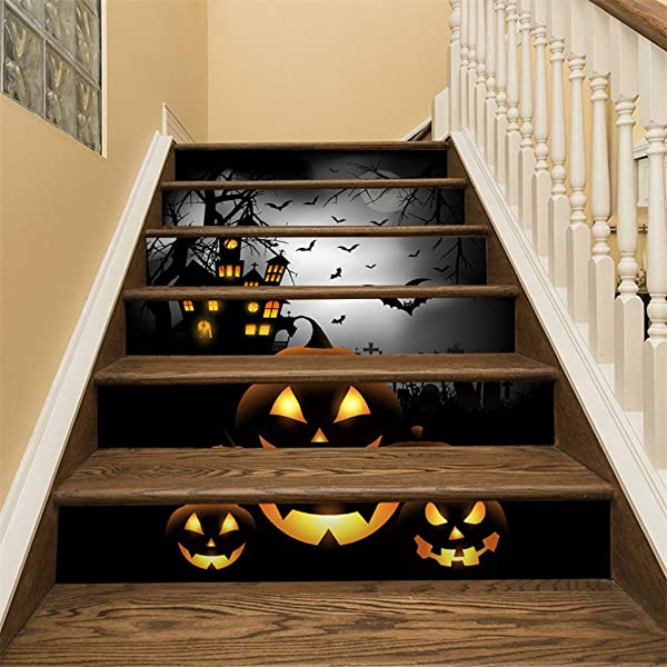 Eve Ruan 6 Pcs 3D Halloween Funny Scary Movable PVC Crow Tombstone Staircase Sticker Waterproof For Home Business Interiors Decor Also Can Stick Tiles Floors For Bar Pub Club Cafe Restaurant Etc