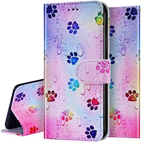 Surakey Kompatibel mit Samsung Galaxy S9 Plus Hülle Leder Handytasche Bunt Gemalt Muster Flip Handyhülle Schutzhülle Magnet Leder Tasche Case im Bookstyle mit Ständer Kartenfächer,Pfotenabdruck
