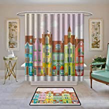 Kenneth Camilla01 Home Decor Shower Curtain by Vintage,Retro Houses in with Small Businesses Bakery Fishmonger Coffee Shop, Multicolor,Fabric Bath Curtain Bathroom Decor 108