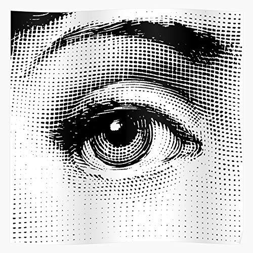 MADEWELL Design Halftone Engraving Lina Cavalieri Fornasetti Graphic Surrealism White Eye and Black Pop Das eindrucksvollste und stilvollste Poster für Innendekoration, das derzeit erhältlich ist
