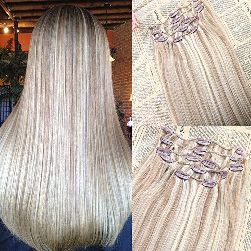Ishowhair 22'' 9 Pieces Color #18 Mixed #22 Best Quality Full Head Clip on Hair Extensions Omber Clip in Extensions Remy Human Hair 120 Gram Clip Extension Real Unprocessed Human Hair