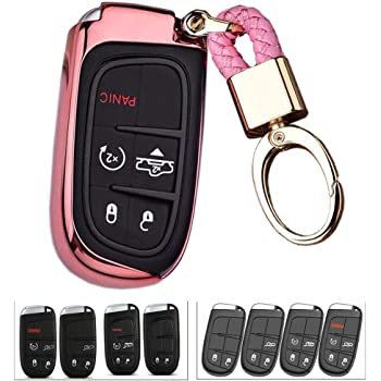 Car Remote Pouch with a Keychain Holder,leather car key case 5 Buttons Key Fob Cover for Jeep Cherokee Fiat,Chrysler 300 200 Smart Remote Key
