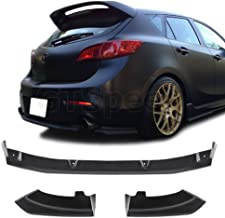GTSpeed Made for 10-13 Mazda 3 5-Door Hatchback Mazdaspeed Style Rear PU Bumper Add-on Lip (For Dual Exhaust Bumper ONLY - Pictured)