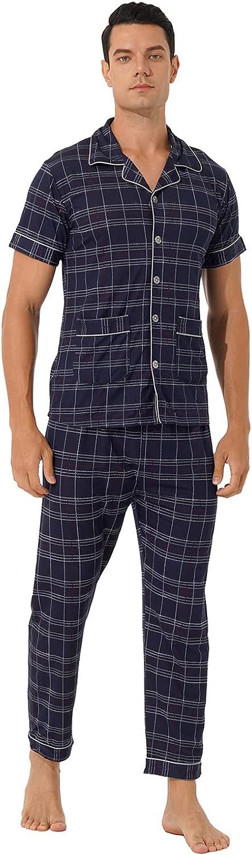 Freebily Mens Plaid Pajama Set Short Sleeve Top & Long Bottom Pajamas Sleepwear Soft Pjs Set