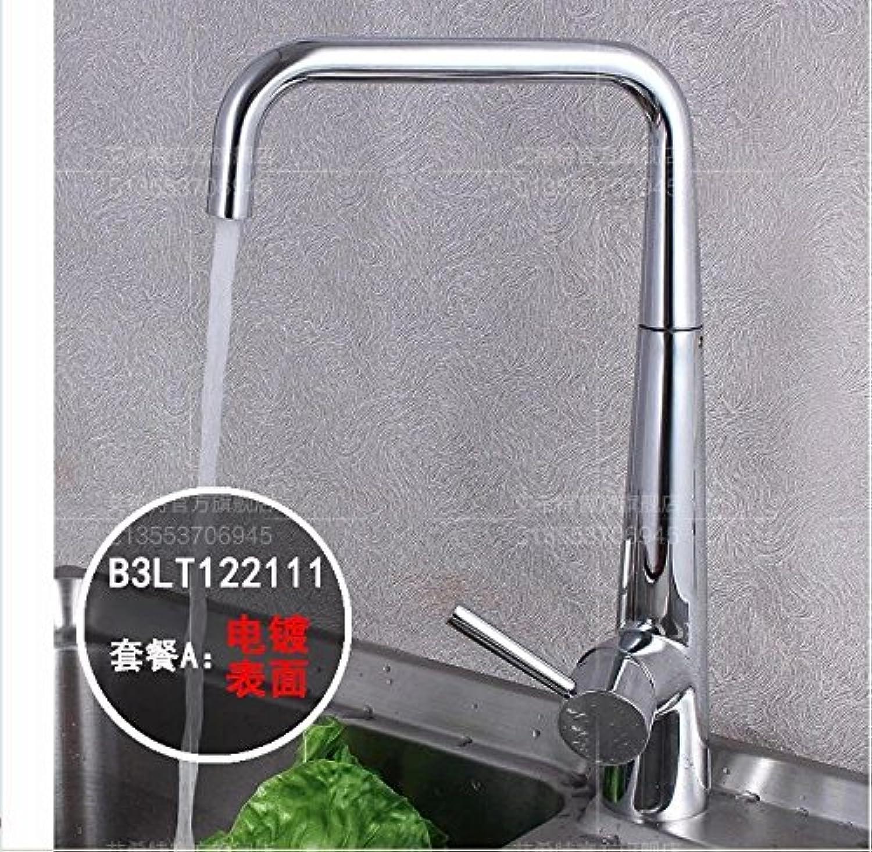 MangeooVolle Kupfer personalisierte Rotierende Schüssel Küche warmes und kaltes Wasser Tank Double Channel Armatur, Chrom