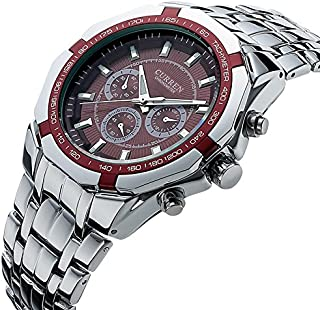 Curren Men Dial Stianless Steel Band Watch 8084 - Silver and red