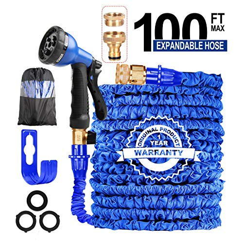AILUZE 100FT Expandable Garden Hose Pipe-Magic Garden Hose with 8 Function Spray Gun/Storage Bag/Hose Holder,Lightweight Flexible Water Hose 1/2'3/4 Brass Fitting,Anti-leakage for Garden,Home(Blue)