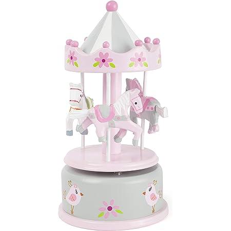 Small Foot 11230 Carillon per Bambini giostra dei Cavalli, in Legno, con Melodia, Ideale Come Ninna Nanna Decorazioni, Bianco, Taglia Unica