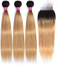 FEEL ME 1b/27 Honey Blonde Ombre Bundles with Closure Brazilian Straight Hair Ombre Weaves 3 Bundles with Lace Closure Unprocessed Virgin Human Hair Bundles with Closure(18 20 22+16)