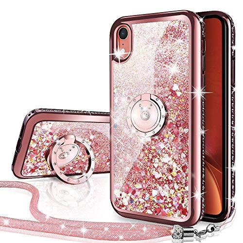 Miss Arts Funda iPhone XR [Silverback] Carcasa Brillante Purpurina con Soporte Giratorio de 360 Grados, Transparente Cristal Bumper Telefono Fundas Case Cover para Apple iPhone XR -Rose Oro