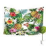 Outflower Tapiz de Piña con Diseño de Flores Tropicales Decorativo Diseño de Mandala Estilo Hippie Estilo Romántico Bohemio para Colgar en la Pared 150 * 130CM