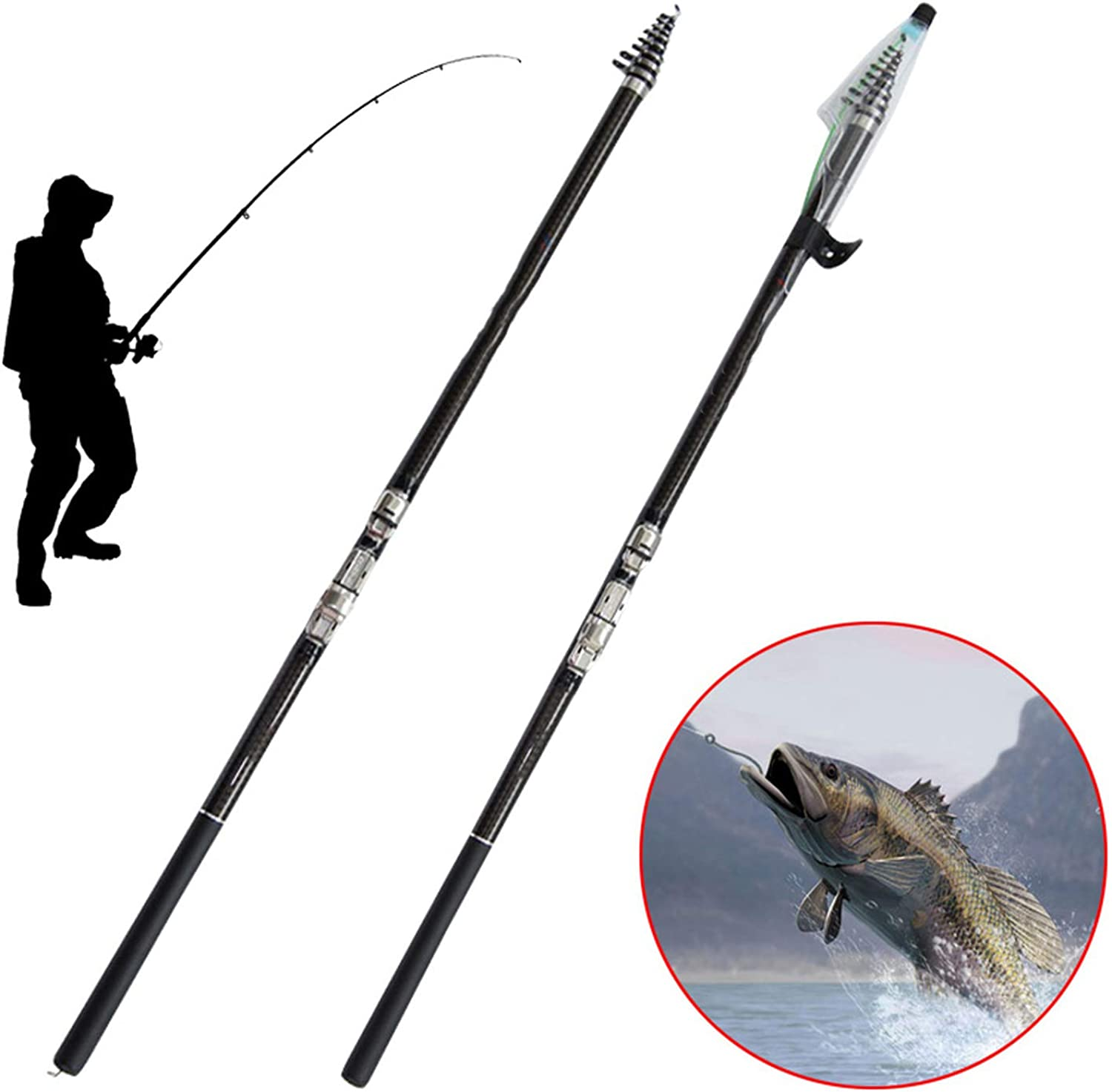Portable Carbon Fiber Telescopic Fishing Rod Spinning Reel Outdoor Sports Travel Fishing Parts