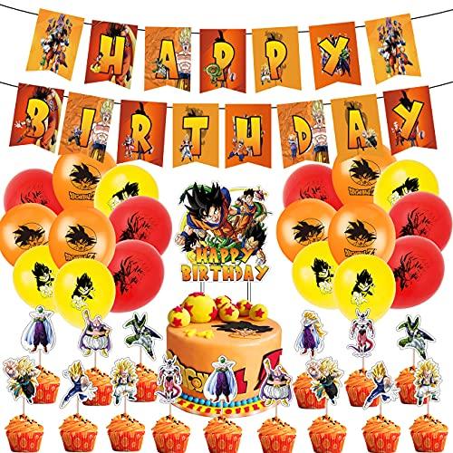 Kit Palloncini Dragon Ball,Palloncini Addobbi Festa Compleanno Bambini con Decorazioni Torta,Compleanno Kit di Palloncini per Feste Palloncini in Lattice Decorazioni per Feste di Compleanno