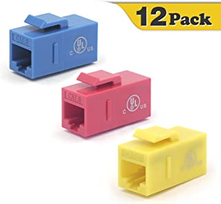 VCE 12-Pack CAT6 Keystone Coupler RJ45 Female to Female Insert Coupler UTP Keystone Inline Coupler Blue+Red+Yellow UL Listed
