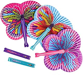 Shop Zoombie Butterfly Paper Folding Fans - Butterfly Party Supplies - Party Favors, Party Decorations, Prizes, Classrooms, Treasure Boxes, Easter Baskets (Pack of 24)
