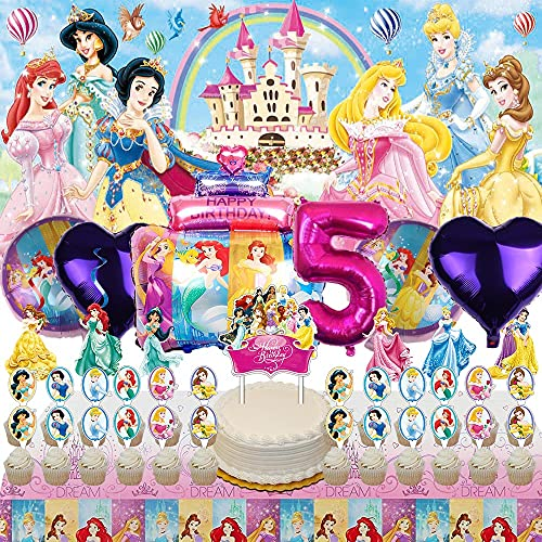 Disney Princess 5th Party Supplies Decorations 5 Years Old Balloons Banner Backdrop Birthday Decor