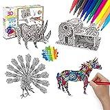 Georgie Porgy Juego de Rompecabezas para Colorear 4 en 1 3D DIY Arts and Crafts Puzzles para niños Kit de Manualidades de Pintura Regalos de cumpleaños Que Incluyen 4 Rompecabezas con 10 marcadores