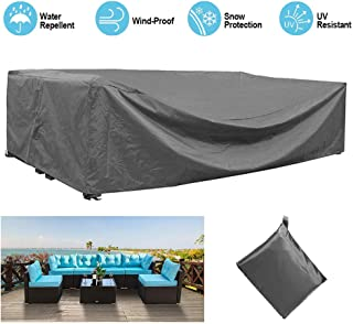 STARTWO Outdoor Patio Furniture Sectional Couch Cover 100% Waterproof Fabric, Porch Sofa,Rectangular Table Chairs Protector Large Furniture Cover,Designed with Straps for Snug Fit